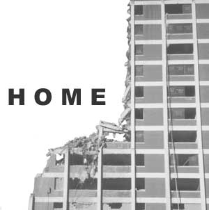 HOME (picture of demolition of high-rise)